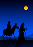 Holy night. Joseph and Mary with donkey on the way to Bethlehem royalty free illustration