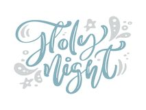 Holy Night blue Christmas vintage calligraphy lettering vector text with winter drawing decor. For art design, mockup vector illustration