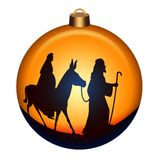 Holy night globe. Globe with Joseph and Mary with donkey on the way to Bethlehem vector illustration