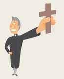 Holy occupation. Cartoon faithful Priest holding cross Royalty Free Stock Images