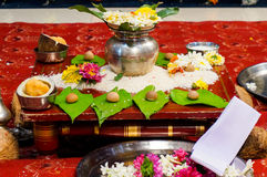 Holy offerings in an indian marriage. Selection of offerings given to the gods to bless an indian wedding. This usually consists of flowers, food and a fire Stock Images