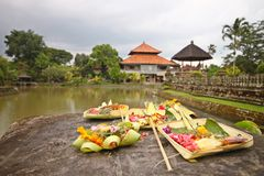 Holy offerings at royal temple of Bali Royalty Free Stock Image