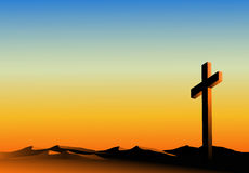 Holy orange horizon. Easter - vector illustration with cross Royalty Free Stock Photography