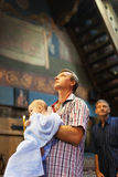 The Holy Orthodox rite of the sacrament of baptism newborn baby Royalty Free Stock Photos