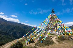 Holy pagodas in Tibetan temple on mountain. Royalty Free Stock Photos