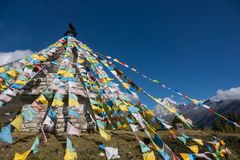 Holy pagodas in Tibetan temple on mountain. Stock Photography