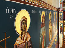 Holy paintings. Wall paintings in an orthodox church royalty free stock image