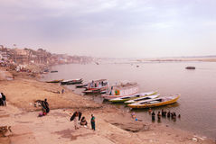 Holy Place In India. Benaras, is considered as the cultural capital of the oldest and holiest cities in India and home to the most famous ghats (steps leading Stock Photography