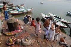 Holy Place In India. Benaras, is considered as the cultural capital of the oldest and holiest cities in India and home to the most famous ghats (steps leading Stock Images