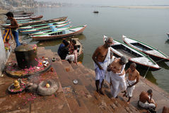 Holy Place In India. Benaras, is considered as the cultural capital of the oldest and holiest cities in India and home to the most famous ghats (steps leading Stock Photos