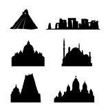 Holy places of the world vector. Vectored illustration of holy ancient places in the world, as silhouette, including stonehenge, saint peter and indian madurai Royalty Free Stock Image