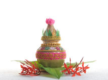 Holy pot. Welcoming good fortune decorated with flowers Royalty Free Stock Images