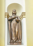 Holy Princess Olga. Sculpture, bas-relief on the facade of the Cathedral of the Resurrection, Ivano-Frankivsk. Royalty Free Stock Images