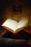 The Holy Quran. Openned on stand Royalty Free Stock Photography