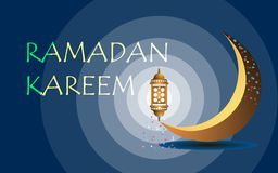 Holy Ramadan, on a dark blue background a bright moon and a lamp stock illustration