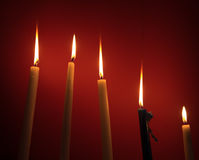 Holy religious candles burning Royalty Free Stock Photos