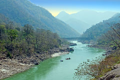 The holy river Ganges in India near Laxman Jhula Stock Photography
