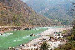 The holy river Ganges in India near Laxman Jhula Royalty Free Stock Photography