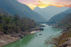 The holy river Ganges in India near Laxman Jhula Royalty Free Stock Photos