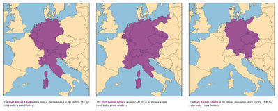 Holy Roman Empire History Map Rise And Fall. Holy Roman Empire - rise and fall of the medieval europe empire from 962 AD to 1806 AD - with todays state borders royalty free illustration