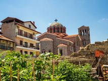 Holy Sacred Cathedral  in the city of Edessa, Greece stock images