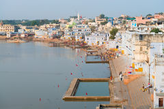 Holy sacred place for Hindus town Pushkar, India royalty free stock photography