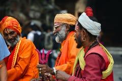 Holy Sadhu men in Kathmandu, Nepal Royalty Free Stock Image