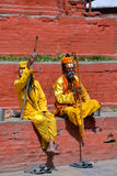 Holy Sadhu men in Kathmandu, Nepal Royalty Free Stock Photo
