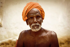 Holy Sadhu men  in saffron Royalty Free Stock Image