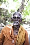 Holy Sadhu men  in saffron color clothing Royalty Free Stock Photo