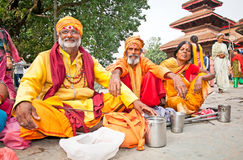 Holy Sadhues  with traditional blessing in Kathmandu, Nepal. Stock Photography