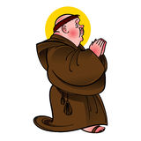 Holy Saint Monk. With shining numb in prayer Royalty Free Stock Images