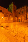 Holy Sepulchre Cathedral at Night, Jerusalem Stock Images