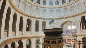 The Holy Sepulchre Church inside from top in Jerusalem timelapse.