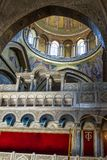 The Holy Sepulchre Church in Jerusalem. Jerusalem , Israel - July 11, 2015 :  The Holy Sepulchre Church in the Old City of Jerusalem. Light goes through the dome Royalty Free Stock Photo