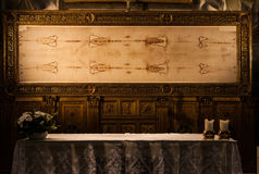 The Holy Shroud. Detail of a copy of the Holy Shroud of Turin, Italy Stock Photography