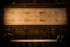 The Holy Shroud. Detail of a copy of the Holy Shroud of Turin, Italy Stock Images