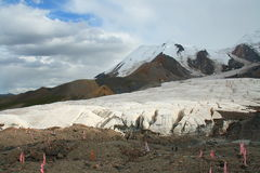 Holy snow mountain Anymachen and glaciers on Tibetan Plateau, Qinghai, China.  Royalty Free Stock Photography