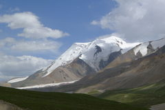 Holy snow mountain Anymachen and glaciers on Tibetan Plateau. Qinghai, China Stock Image
