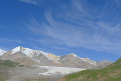 Holy snow mountain Anymachen and glaciers on Tibetan Plateau Royalty Free Stock Photos