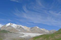 Holy snow mountain Anymachen and glaciers on Tibetan Plateau. Qinghai, China Royalty Free Stock Photos