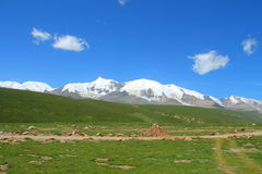 Holy snow mountain Anymachen on Tibetan Plateau, Qinghai, China stock image