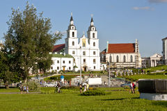 Holy Spirit Cathedral in Minsk, Belarus  View of Orthodox Church and Historical Center Royalty Free Stock Image