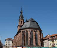 Holy Spirit Church. The famous 'Heiliggeist'-Church sits in the middle of a market square in the old town of Heidelberg in Germany Stock Photo