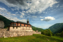 Holy spirit church Javorca in Slovenian alps a memorial of first Royalty Free Stock Photography