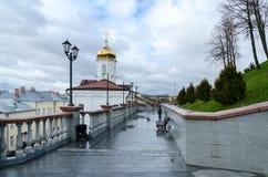 Holy Spirit monastery and stairs to Uspenskaya hill, Vitebsk Stock Photo