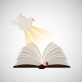 Holy spirit open bible icon religion design. Illustration Stock Image