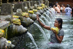 Holy spring water at Tirta Empul Temple Stock Photo