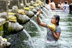 Holy spring water at Tirta Empul Temple Stock Photography