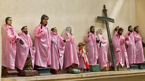 Holy statues - parked. Holy statues, in pink sheaths, parked for its next using, seen in a little church in a village at lake atitlan, guatemala Royalty Free Stock Images